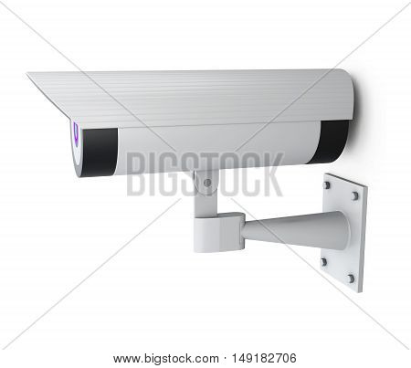 Surveillance Camera Isolated On A White Background. 3D Rendering