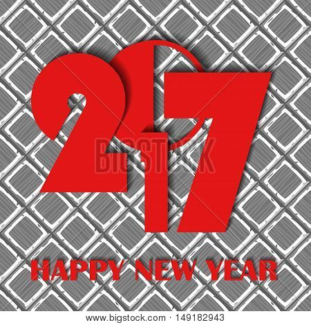 New Year 2017 Concept On Cartoon Hand Drown Grey Old Diagonal Tiles Texture. Vector Illustration