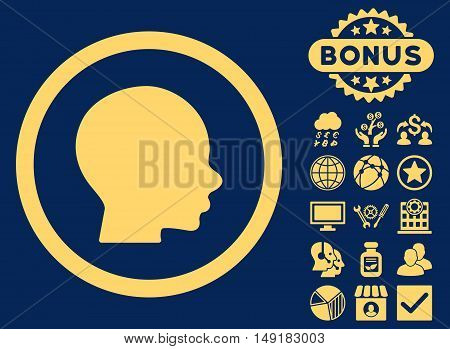 Head icon with bonus images. Vector illustration style is flat iconic symbols yellow color blue background.