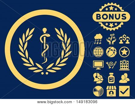 Health Care Emblem icon with bonus images. Vector illustration style is flat iconic symbols yellow color blue background.