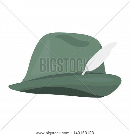 Tyrolean icon in cartoon style isolated on white background. Hunting symbol vector illustration.