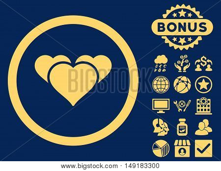 Heart Favourites icon with bonus elements. Vector illustration style is flat iconic symbols yellow color blue background.