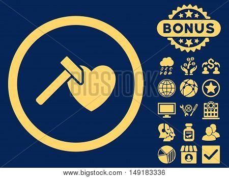 Heart Hammer icon with bonus symbols. Vector illustration style is flat iconic symbols yellow color blue background.