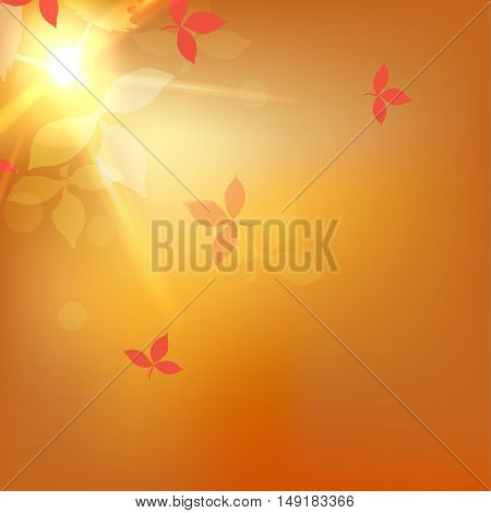 Autumn blurred orange abstract background with bokeh effect, red leaves. Vector illustration