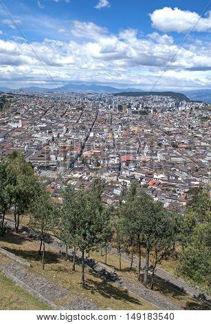 High view of the city of Quito, Ecuador, Southamerica