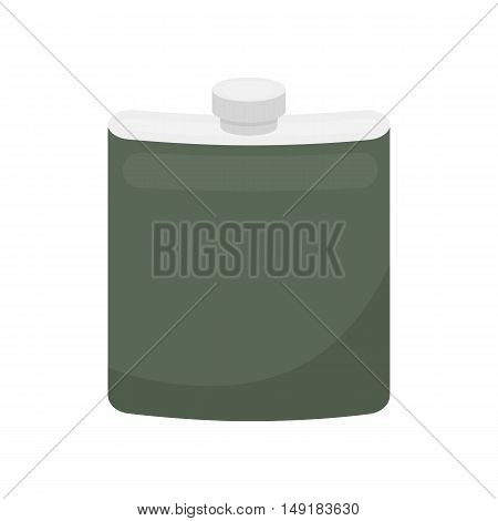 Hip flask icon in cartoon style isolated on white background. Hunting symbol vector illustration.