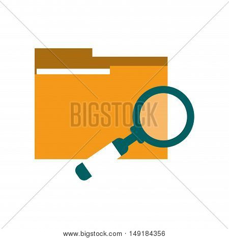flat design file folder and magnifying glass icon vector illustration