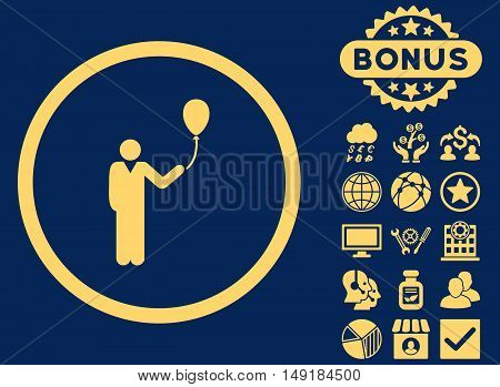 Holiday icon with bonus images. Vector illustration style is flat iconic symbols yellow color blue background.