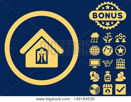Home icon with bonus design elements. Vector illustration style is flat iconic symbols yellow color blue background.