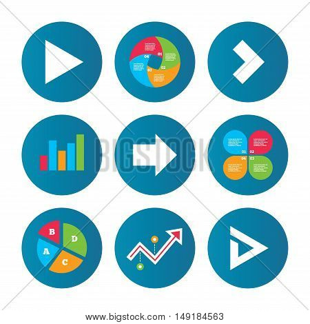 Business pie chart. Growth curve. Presentation buttons. Arrow icons. Next navigation arrowhead signs. Direction symbols. Data analysis. Vector
