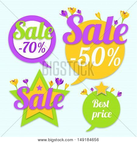 Sale Tags with stars and flowers. Best price and special offer. Vector illustration.