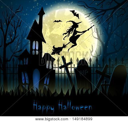 Graveyard cemetery tomb in forest with moon and haunted house , Halloween background, vector illustration