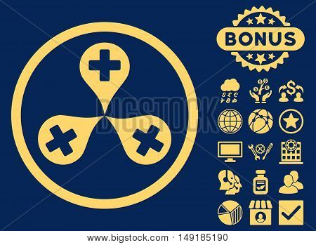 Hospital Map Markers icon with bonus design elements. Vector illustration style is flat iconic symbols yellow color blue background.