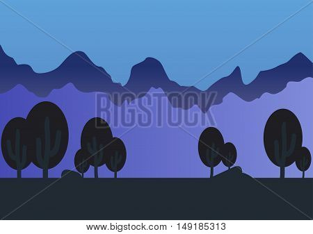 Game forest parallax background vector illustration art style