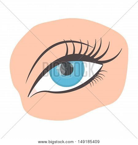 Applied mascara icon in cartoon style isolated on white background. Make up symbol vector illustration.