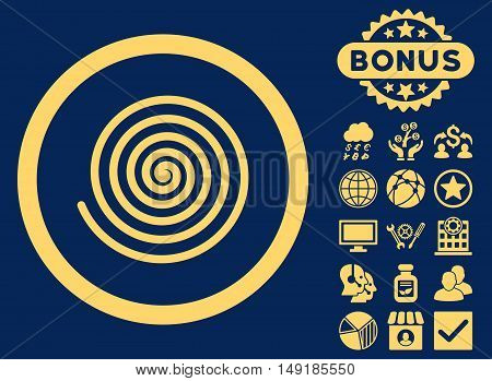 Hypnosis icon with bonus symbols. Vector illustration style is flat iconic symbols yellow color blue background.