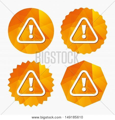 Attention sign icon. Exclamation mark. Hazard warning symbol. Triangular low poly buttons with flat icon. Vector