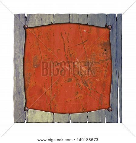 rustic wood frame on rusty metal plate. isolated white background. 3d illustration. vintage signboard.