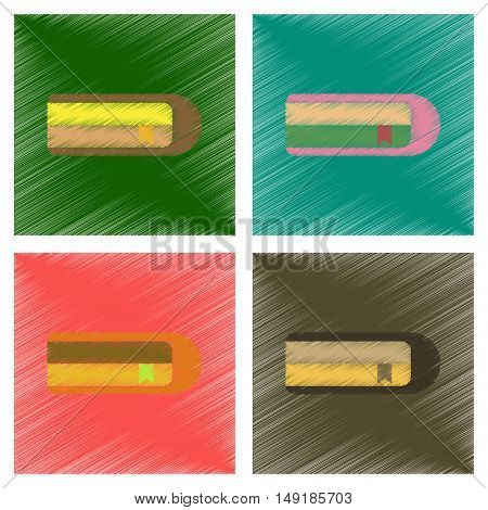 assembly flat shading style icons of book bookmark
