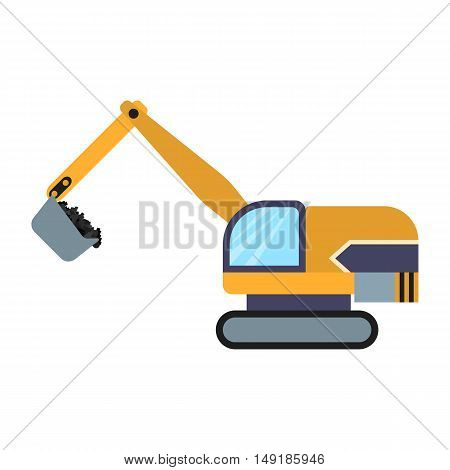 Excavator icon in cartoon style isolated on white background. Mine symbol vector illustration.