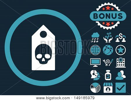 Death Coupon icon with bonus images. Vector illustration style is flat iconic bicolor symbols blue and white colors dark blue background.