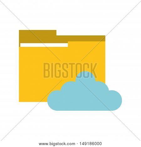 flat design file folder and cloud  icon vector illustration