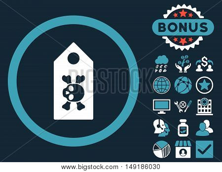 Death Label icon with bonus images. Vector illustration style is flat iconic bicolor symbols blue and white colors dark blue background.