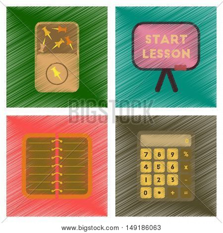 assembly flat shading style icons of office pins notebook calculator board