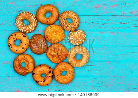 Circular Arrangement Of Freshly Baked Bagels