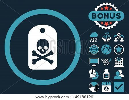Death Sticker icon with bonus pictogram. Vector illustration style is flat iconic bicolor symbols blue and white colors dark blue background.