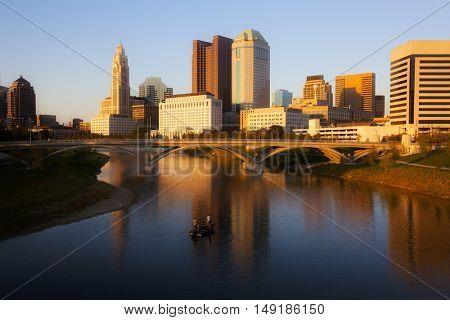 Fishing boat on the Scioto River in Columbus, Ohio