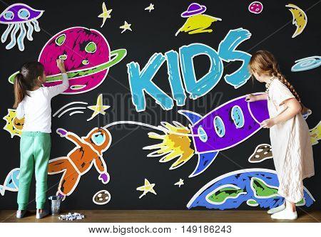 Kids Space Rocket Planet Graphic Concept
