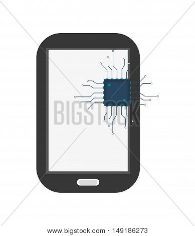 flat design modern cellphone and cpu icon vector illustration