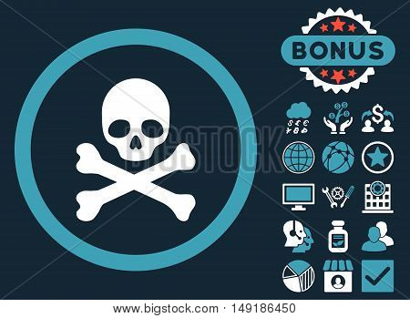 Death icon with bonus pictogram. Vector illustration style is flat iconic bicolor symbols blue and white colors dark blue background.