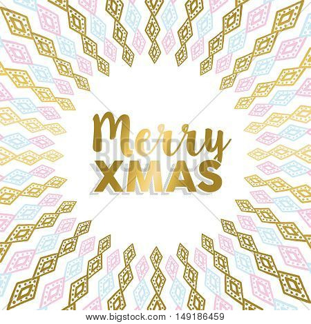 Merry Xmas Gold Mandala Design In Light Colors