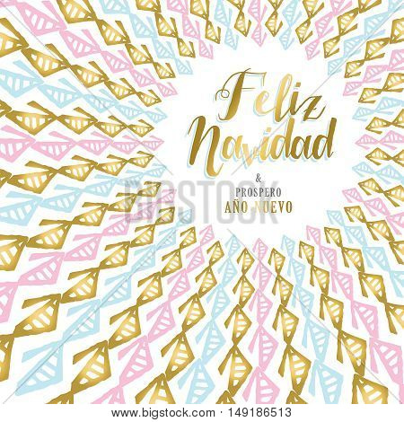 Gold Christmas And New Year Card Design In Spanish