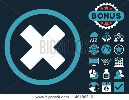 Delete X-Cross icon with bonus symbols. Vector illustration style is flat iconic bicolor symbols blue and white colors dark blue background.