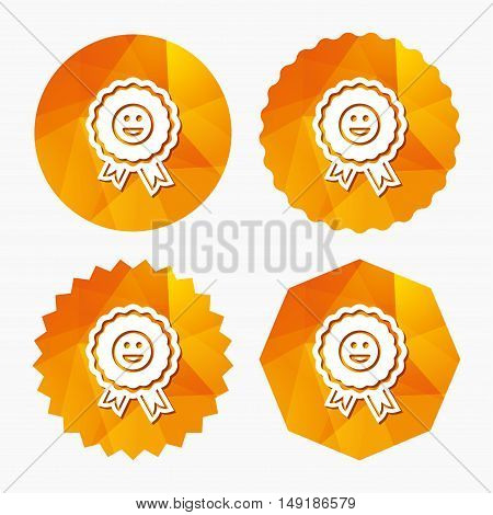 Award smile icon. Happy face medal symbol. Triangular low poly buttons with flat icon. Vector