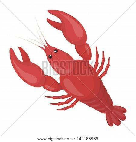 Boiled lobster icon in cartoon style isolated on white background. Oktoberfest symbol vector illustration.