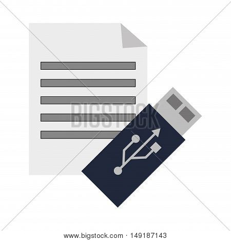 flat design paper document and usb drive  icon vector illustration