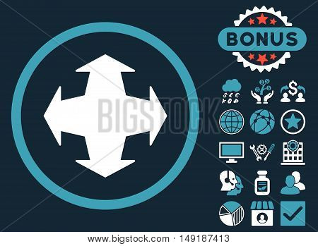 Directions icon with bonus images. Vector illustration style is flat iconic bicolor symbols blue and white colors dark blue background.