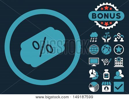 Discount Label icon with bonus symbols. Vector illustration style is flat iconic bicolor symbols blue and white colors dark blue background.