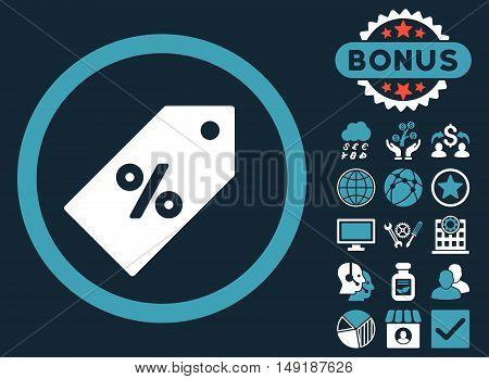 Discount Tag icon with bonus symbols. Vector illustration style is flat iconic bicolor symbols blue and white colors dark blue background.