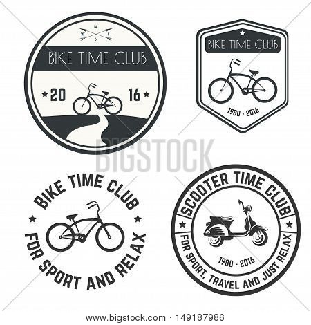 Vector image logo bike and scooter time club on white background