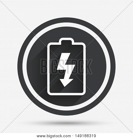 Battery charging sign icon. Lightning symbol. Circle flat button with shadow and border. Vector