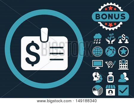 Dollar Badge icon with bonus symbols. Vector illustration style is flat iconic bicolor symbols blue and white colors dark blue background.
