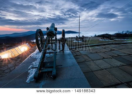 Cannon on Shipka peak in Balkan mountain