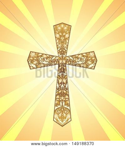 Vintage Christian Cross with gold floral pattern on background with sun rays