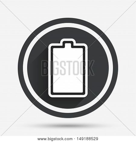 Battery fully charged sign icon. Electricity symbol. Circle flat button with shadow and border. Vector