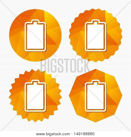 Battery fully charged sign icon. Electricity symbol. Triangular low poly buttons with flat icon. Vector